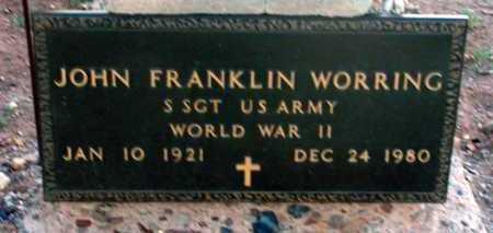 WORRING, JOHN FRANKLIN - Apache County, Arizona | JOHN FRANKLIN WORRING - Arizona Gravestone Photos