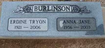 BURLINSON, ERDINE TRYON - Cochise County, Arizona | ERDINE TRYON BURLINSON - Arizona Gravestone Photos