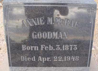 MCRAE GOODMAN, ANNIE M. - Cochise County, Arizona | ANNIE M. MCRAE GOODMAN - Arizona Gravestone Photos