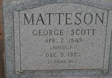 MATTESON, GEORGE SCOTT - Cochise County, Arizona | GEORGE SCOTT MATTESON - Arizona Gravestone Photos