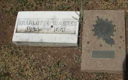 ACKER, CHARLOTTE W. - Coconino County, Arizona   CHARLOTTE W. ACKER - Arizona Gravestone Photos