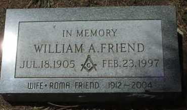 FRIEND, WILLIAM A. - Coconino County, Arizona | WILLIAM A. FRIEND - Arizona Gravestone Photos