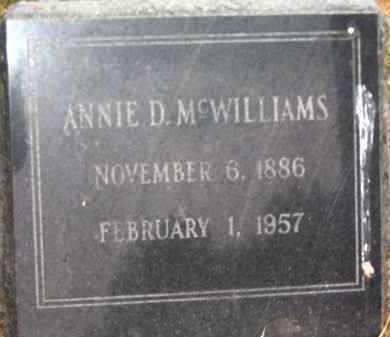 MCWILLIAMS, ANNIE D. - Coconino County, Arizona | ANNIE D. MCWILLIAMS - Arizona Gravestone Photos