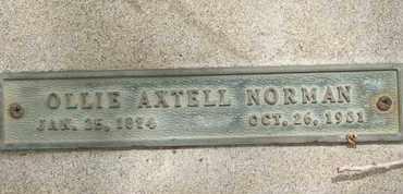 NORMAN, OLLIE AXTELL - Coconino County, Arizona | OLLIE AXTELL NORMAN - Arizona Gravestone Photos