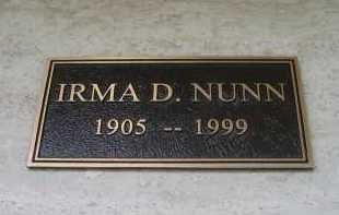 NUNN, IRMA D. - Coconino County, Arizona | IRMA D. NUNN - Arizona Gravestone Photos