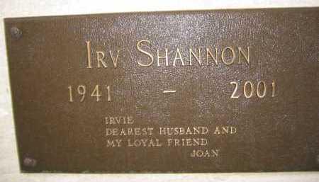 SHANNON, IRV - Coconino County, Arizona   IRV SHANNON - Arizona Gravestone Photos