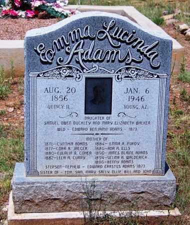 ADAMS, EMMA LUCINDA - Gila County, Arizona | EMMA LUCINDA ADAMS - Arizona Gravestone Photos