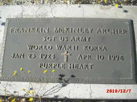 ARCHER, FRANKLIN MCKINLEY - Gila County, Arizona | FRANKLIN MCKINLEY ARCHER - Arizona Gravestone Photos