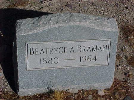 BRAMAN, BEATRYCE  A. - Gila County, Arizona   BEATRYCE  A. BRAMAN - Arizona Gravestone Photos