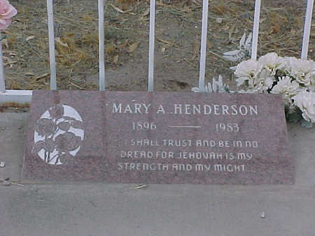HENDERSON, MARY A. - Gila County, Arizona | MARY A. HENDERSON - Arizona Gravestone Photos