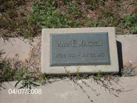 MANSHEIM, ANNA - Gila County, Arizona   ANNA MANSHEIM - Arizona Gravestone Photos