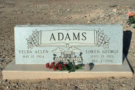 ADAMS, VELDA - Graham County, Arizona | VELDA ADAMS - Arizona Gravestone Photos