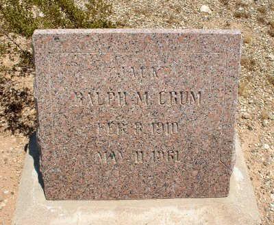 CRUM, RALPH M. - Graham County, Arizona | RALPH M. CRUM - Arizona Gravestone Photos
