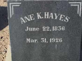 HAYES, ANE K. / MARIE - Graham County, Arizona | ANE K. / MARIE HAYES - Arizona Gravestone Photos