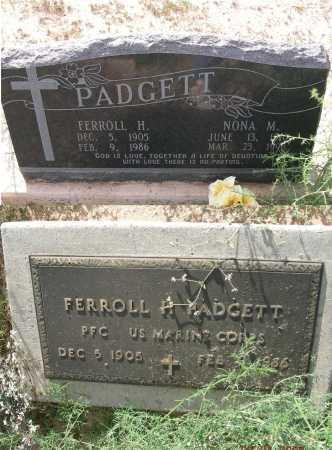 PADGETT, FERROLL H - Graham County, Arizona | FERROLL H PADGETT - Arizona Gravestone Photos