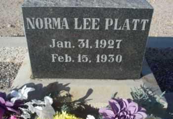 PLATT, NORMA LEE - Graham County, Arizona | NORMA LEE PLATT - Arizona Gravestone Photos
