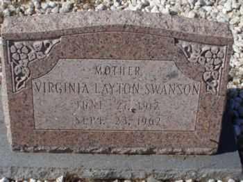 LAYTON SWANSON, VIRGINIA - Graham County, Arizona | VIRGINIA LAYTON SWANSON - Arizona Gravestone Photos
