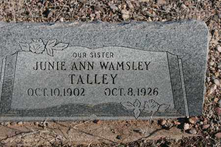 WAMSLEY TALLEY, JUNIE ANN - Graham County, Arizona | JUNIE ANN WAMSLEY TALLEY - Arizona Gravestone Photos