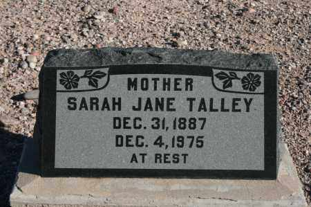 TALLEY, SARAH JANE - Graham County, Arizona | SARAH JANE TALLEY - Arizona Gravestone Photos
