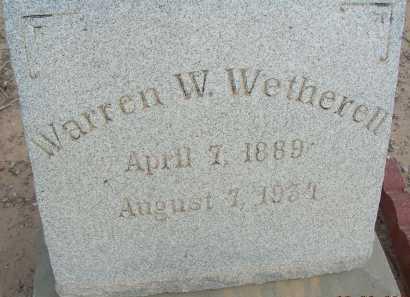 WETHERELL, WARREN W - Graham County, Arizona | WARREN W WETHERELL - Arizona Gravestone Photos