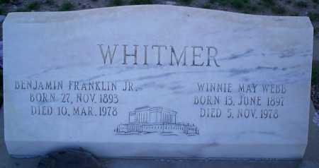 WHITMER, BENJAMIN FRANKLIN, JR. - Graham County, Arizona | BENJAMIN FRANKLIN, JR. WHITMER - Arizona Gravestone Photos