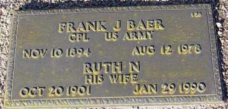 BAER, FRANK J. - Maricopa County, Arizona | FRANK J. BAER - Arizona Gravestone Photos