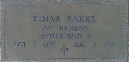 BAKKE, EINAR - Maricopa County, Arizona | EINAR BAKKE - Arizona Gravestone Photos