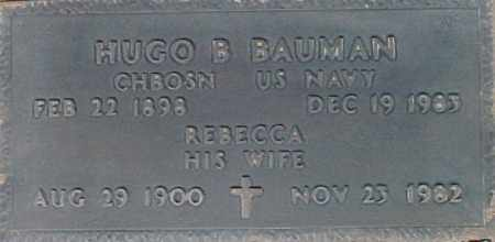 BAUMAN, HUGO B - Maricopa County, Arizona | HUGO B BAUMAN - Arizona Gravestone Photos