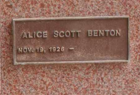 BENTON, ALICE SCOTT - Maricopa County, Arizona | ALICE SCOTT BENTON - Arizona Gravestone Photos