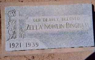 NOWLIN BINGHAM, ZELLA - Maricopa County, Arizona   ZELLA NOWLIN BINGHAM - Arizona Gravestone Photos