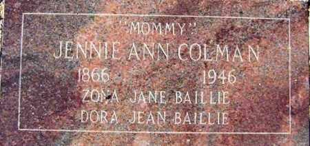 COLMAN, JEANNIE ANN - Maricopa County, Arizona | JEANNIE ANN COLMAN - Arizona Gravestone Photos