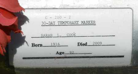 COOK, SARAH L. - Maricopa County, Arizona | SARAH L. COOK - Arizona Gravestone Photos