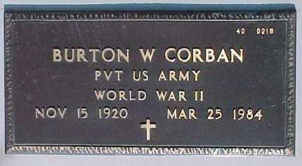 CORBAN, BURTON W. - Maricopa County, Arizona | BURTON W. CORBAN - Arizona Gravestone Photos