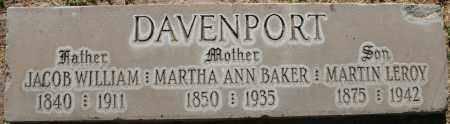 BAKER DAVENPORT, MARTHA ANN - Maricopa County, Arizona | MARTHA ANN BAKER DAVENPORT - Arizona Gravestone Photos