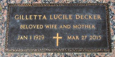 DECKER, GILLETTA LUCILE - Maricopa County, Arizona | GILLETTA LUCILE DECKER - Arizona Gravestone Photos