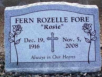 "PHELPS FORE, FERN ROZELLE ""ROSIE"" - Maricopa County, Arizona | FERN ROZELLE ""ROSIE"" PHELPS FORE - Arizona Gravestone Photos"