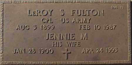 FULTON, JENNIE M - Maricopa County, Arizona | JENNIE M FULTON - Arizona Gravestone Photos