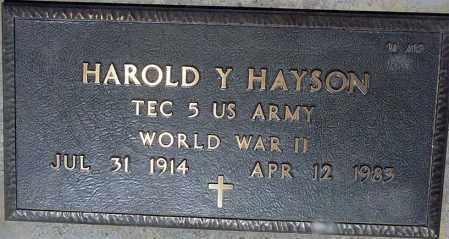 HAYSON, HAROLD Y. - Maricopa County, Arizona | HAROLD Y. HAYSON - Arizona Gravestone Photos