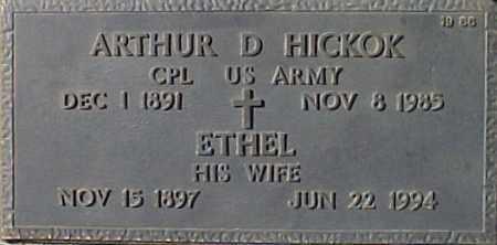 HICKOK, ARTHUR D - Maricopa County, Arizona | ARTHUR D HICKOK - Arizona Gravestone Photos