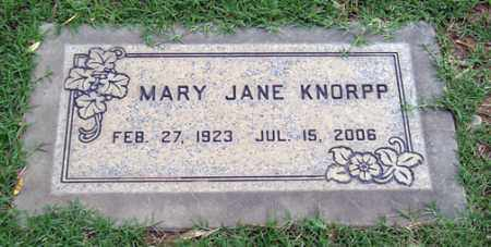 KNORPP, MARY JANE - Maricopa County, Arizona | MARY JANE KNORPP - Arizona Gravestone Photos