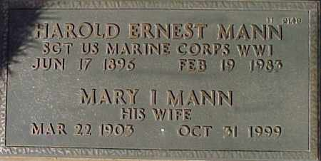 MANN, HAROLD ERNEST - Maricopa County, Arizona | HAROLD ERNEST MANN - Arizona Gravestone Photos