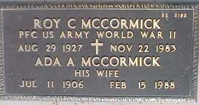 MCCORMICK, ADA A. - Maricopa County, Arizona | ADA A. MCCORMICK - Arizona Gravestone Photos
