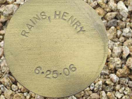 RAINS, HENRY - Maricopa County, Arizona | HENRY RAINS - Arizona Gravestone Photos