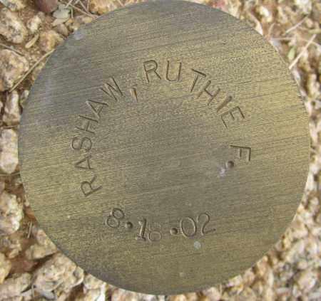 RASHAW, RUTHIE F. - Maricopa County, Arizona   RUTHIE F. RASHAW - Arizona Gravestone Photos