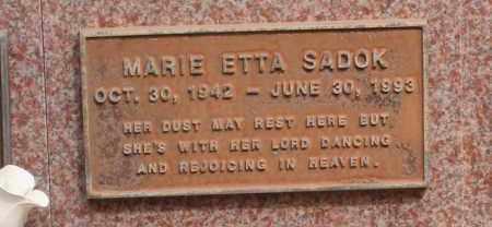 SADOK, MARIE ETTA - Maricopa County, Arizona | MARIE ETTA SADOK - Arizona Gravestone Photos