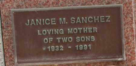 SANCHEZ, JANICE M. - Maricopa County, Arizona   JANICE M. SANCHEZ - Arizona Gravestone Photos