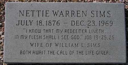 SIMS, NETTIE WARREN - Maricopa County, Arizona | NETTIE WARREN SIMS - Arizona Gravestone Photos