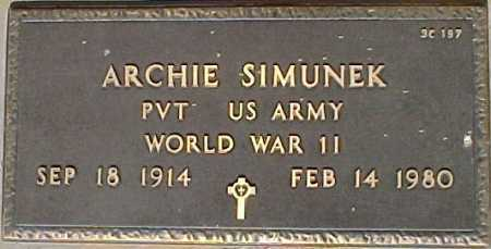 SIMUNEK, ARCHIE - Maricopa County, Arizona | ARCHIE SIMUNEK - Arizona Gravestone Photos