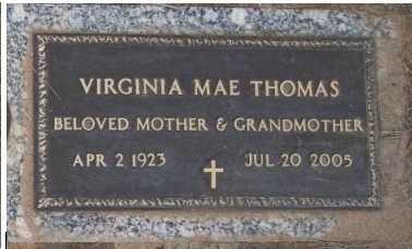 THOMAS, VIRGINIA MAE - Maricopa County, Arizona | VIRGINIA MAE THOMAS - Arizona Gravestone Photos