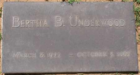 UNDERWOOD, BERTHA B. - Maricopa County, Arizona | BERTHA B. UNDERWOOD - Arizona Gravestone Photos